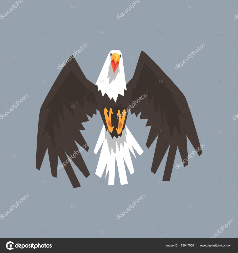 North American Bald Eagle Character Flying Symbol Of Freedom And