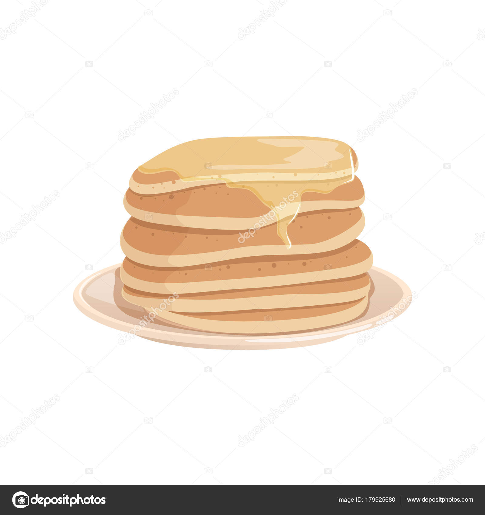 Pile of delicious pancakes topped with honey or maple syrup on plate tasty fast food dessert colorful vector illustration in flat style isolated on white background design for menu or recipe book forumfinder Image collections