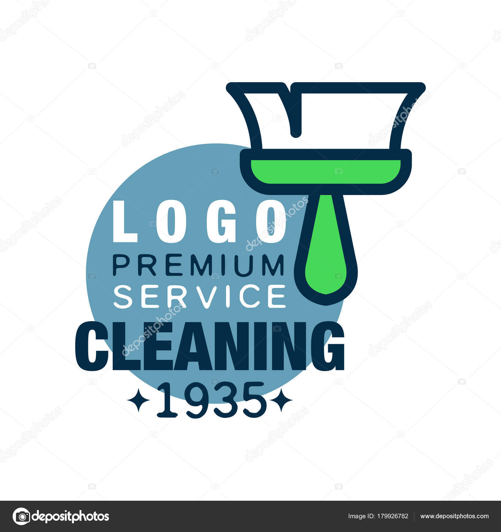 House cleaning and maid service logo design with brush and blue ...