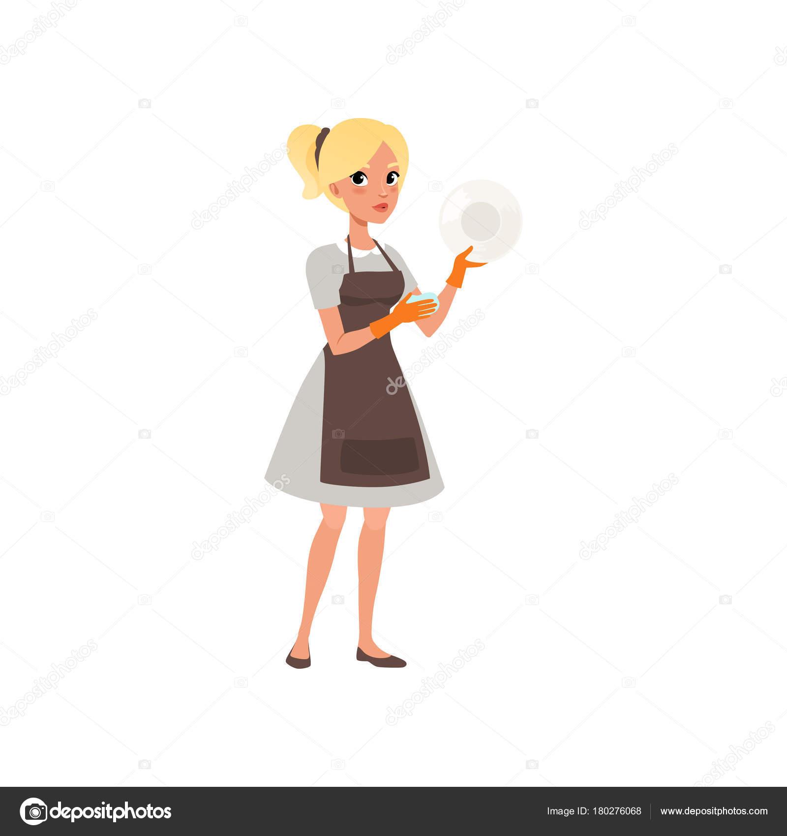 Placa De Mulher Lavar Com Esponja Personagem De Desenho Animado Da