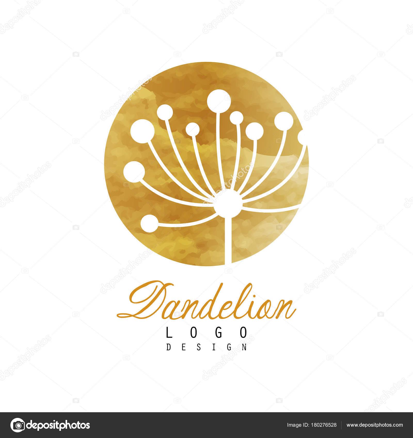 dandelion logo design template gentle golden texture abstract icon