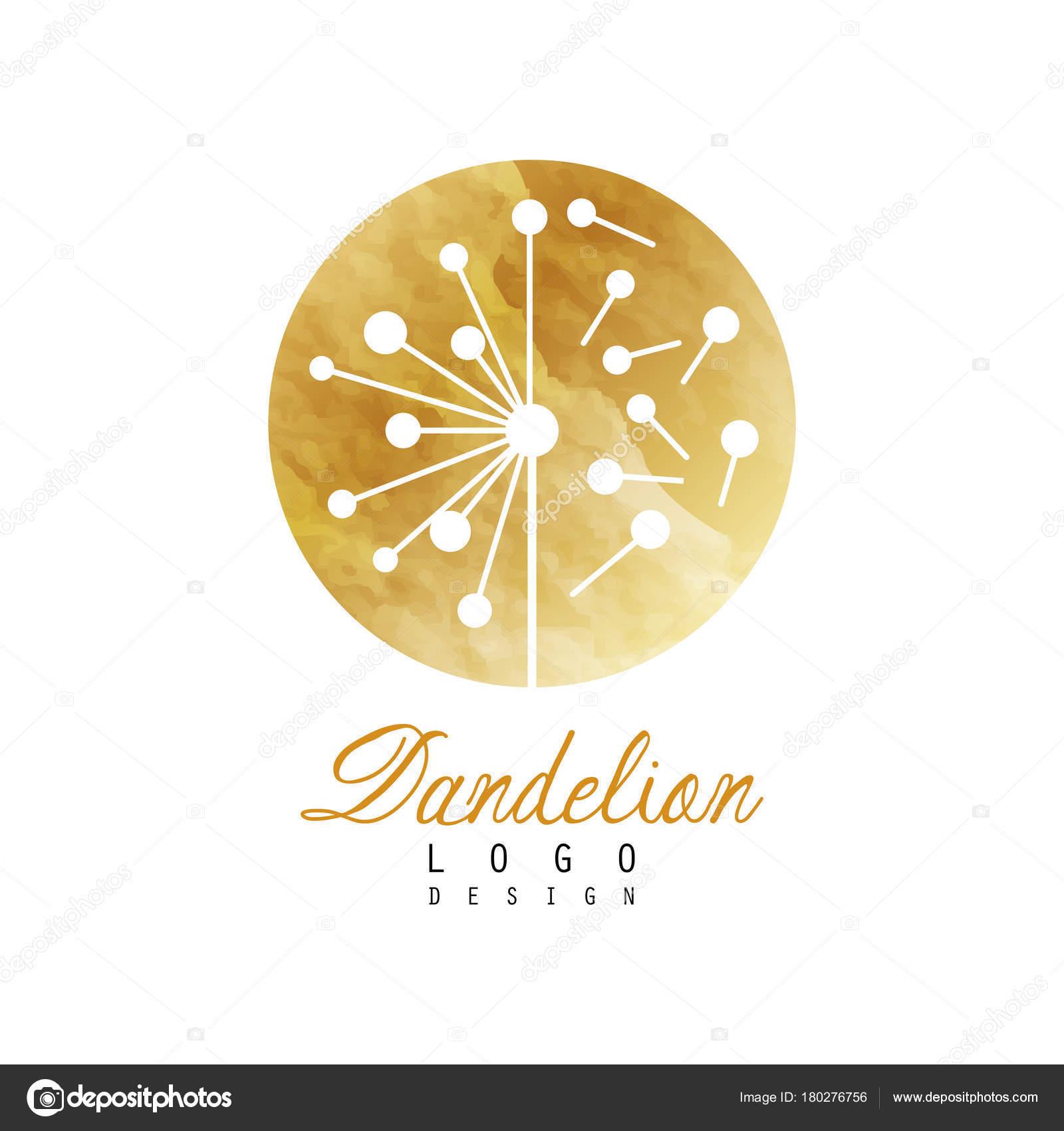luxury dandelion logo design template textured golden emblem with