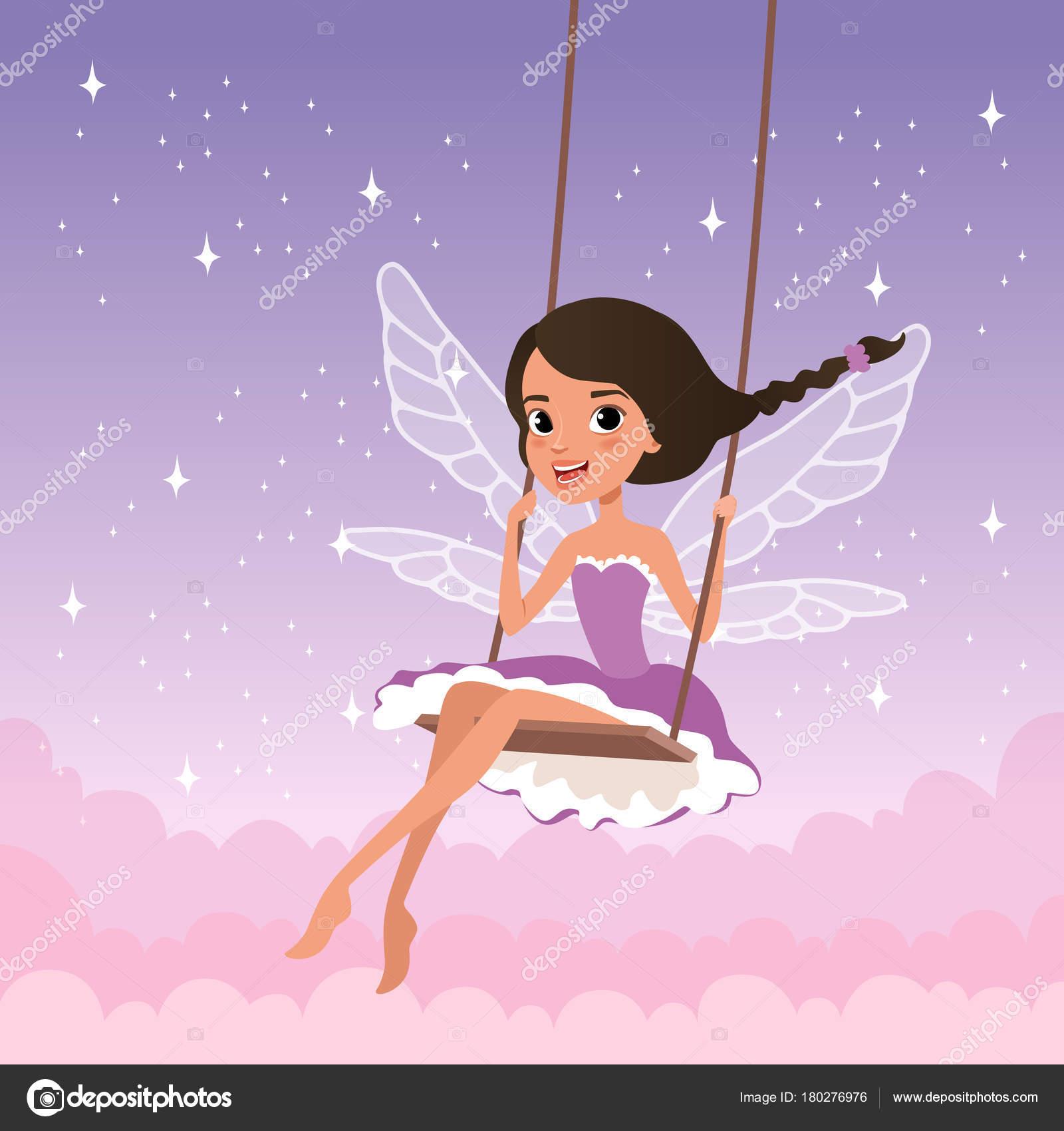8fee70902 Cute fairy on swing. Magical creature from fairy tale. Cartoon girl ...