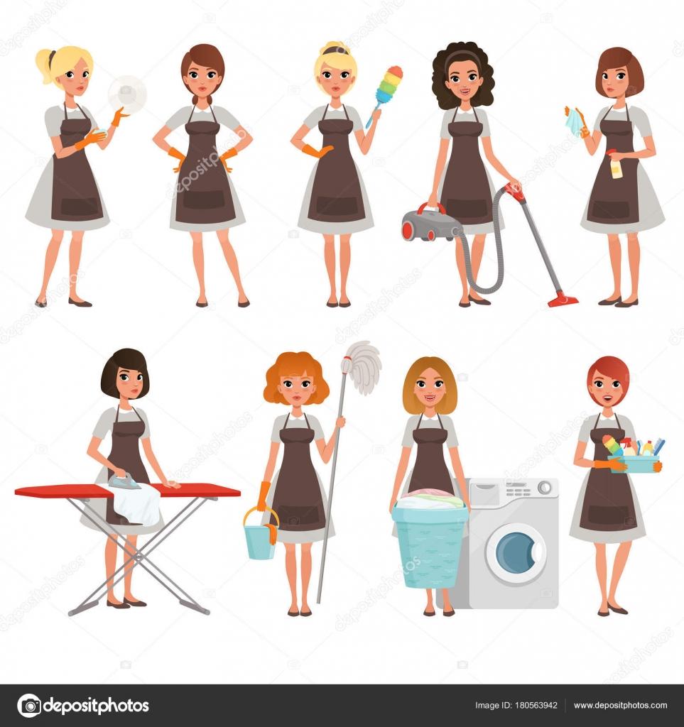 Conjunto de las amas de casa con diferentes equipos ama - Imagenes de limpieza de casas ...