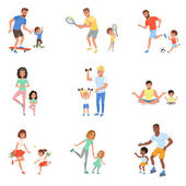 Fotografie Kinder mit Eltern, spielen, Fußball, Tennis, Tischtennis, Reiten auf Skateboards und Walzen, Workout mit Hanteln und meditieren. Zeit mit der Familie. Flache Vektor-design