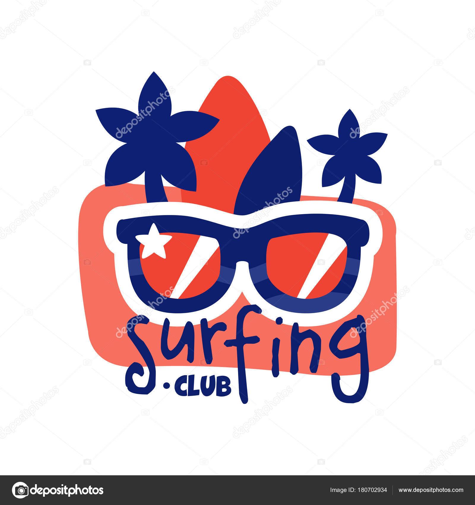 クラブのロゴをサーフィンサーフィン サングラスとレトロなバッジ
