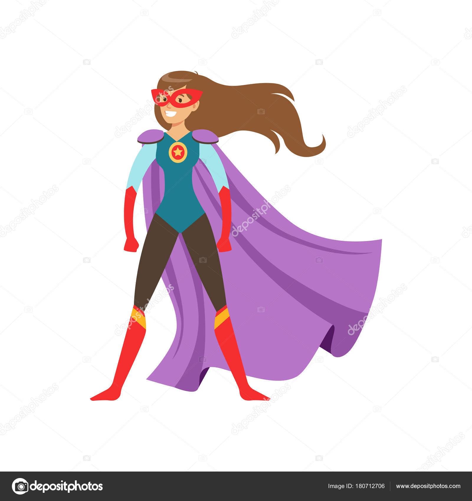 Personnage de jeune femme habill comme un super h ros debout dans le vecteur de dessin anim - Image super heros fille ...