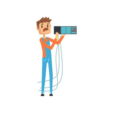 Network engineer involved in maintenance of system module cartoon vector illustration