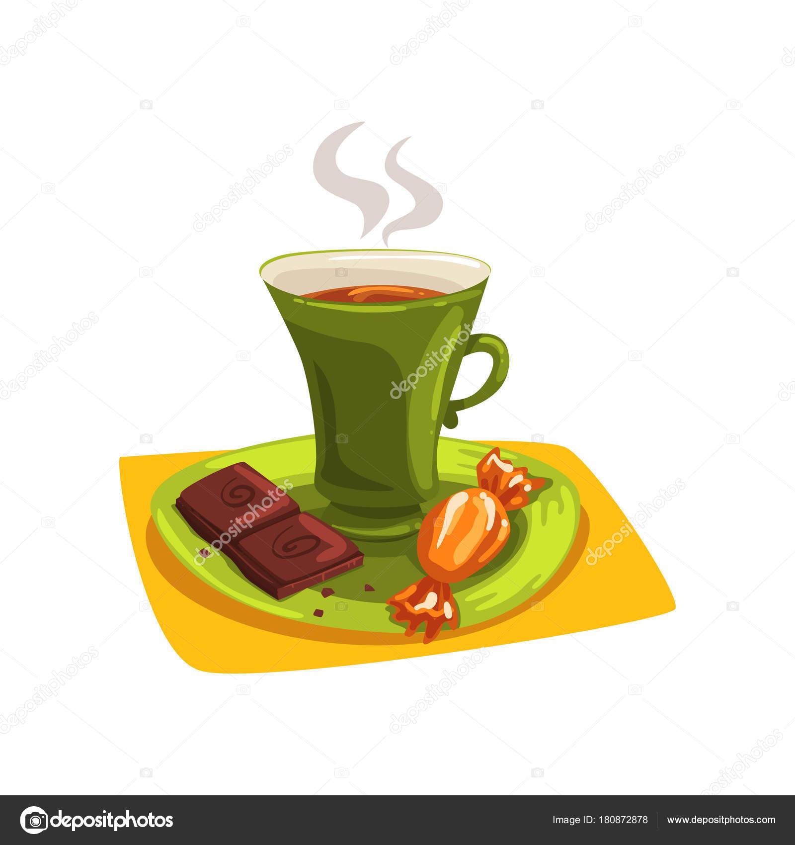 coupe du dessin anim de th chaud sur soucoupe avec bonbons et morceau de chocolat d licieux. Black Bedroom Furniture Sets. Home Design Ideas