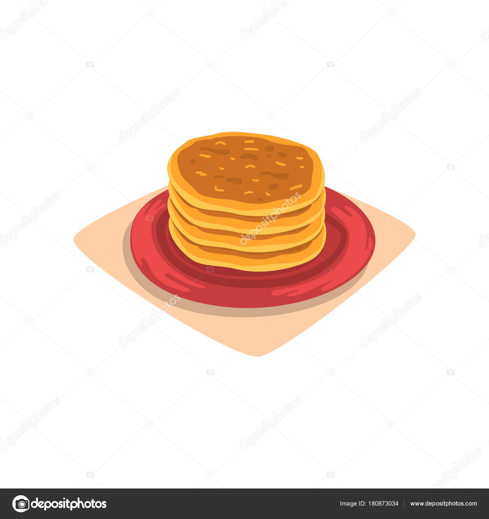 Stack of delicious pancakes on red plate tasty fast food dessert tasty fast food dessert breakfast concept graphic design for menu or recipe book cartoon vector illustration in flat style isolated on white background forumfinder Image collections