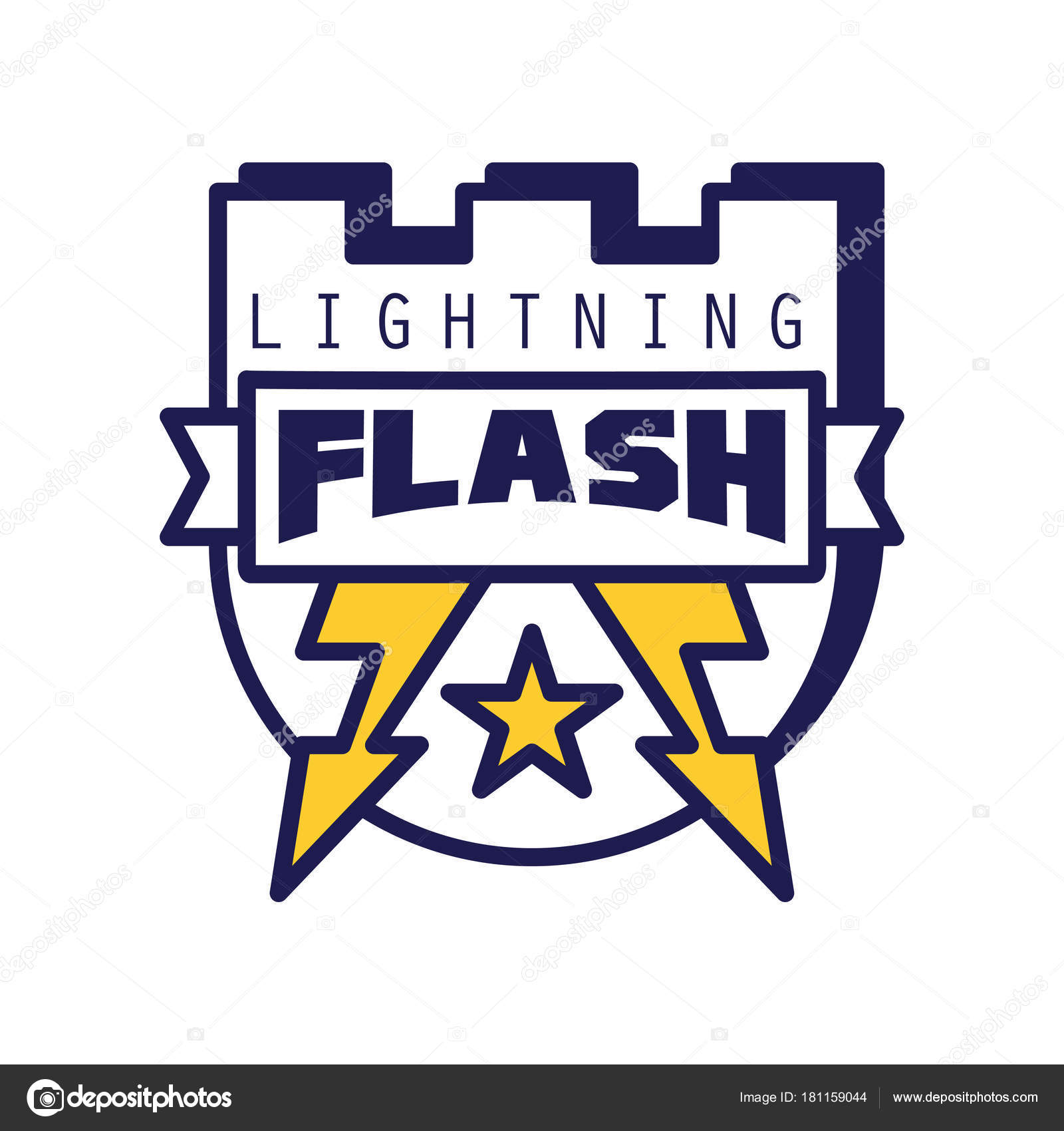 Flash Lightning Logo Template Badge With Symbol Design Element Shield For Company
