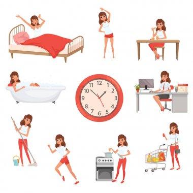 Sevimli genç kız farklı durumlarda. Gündüz. Uyanma, fiziksel egzersizleri yapıyor, Kahvaltı, çalışma, temizlik ev, yemek ve alışveriş banyo. Düz vektör