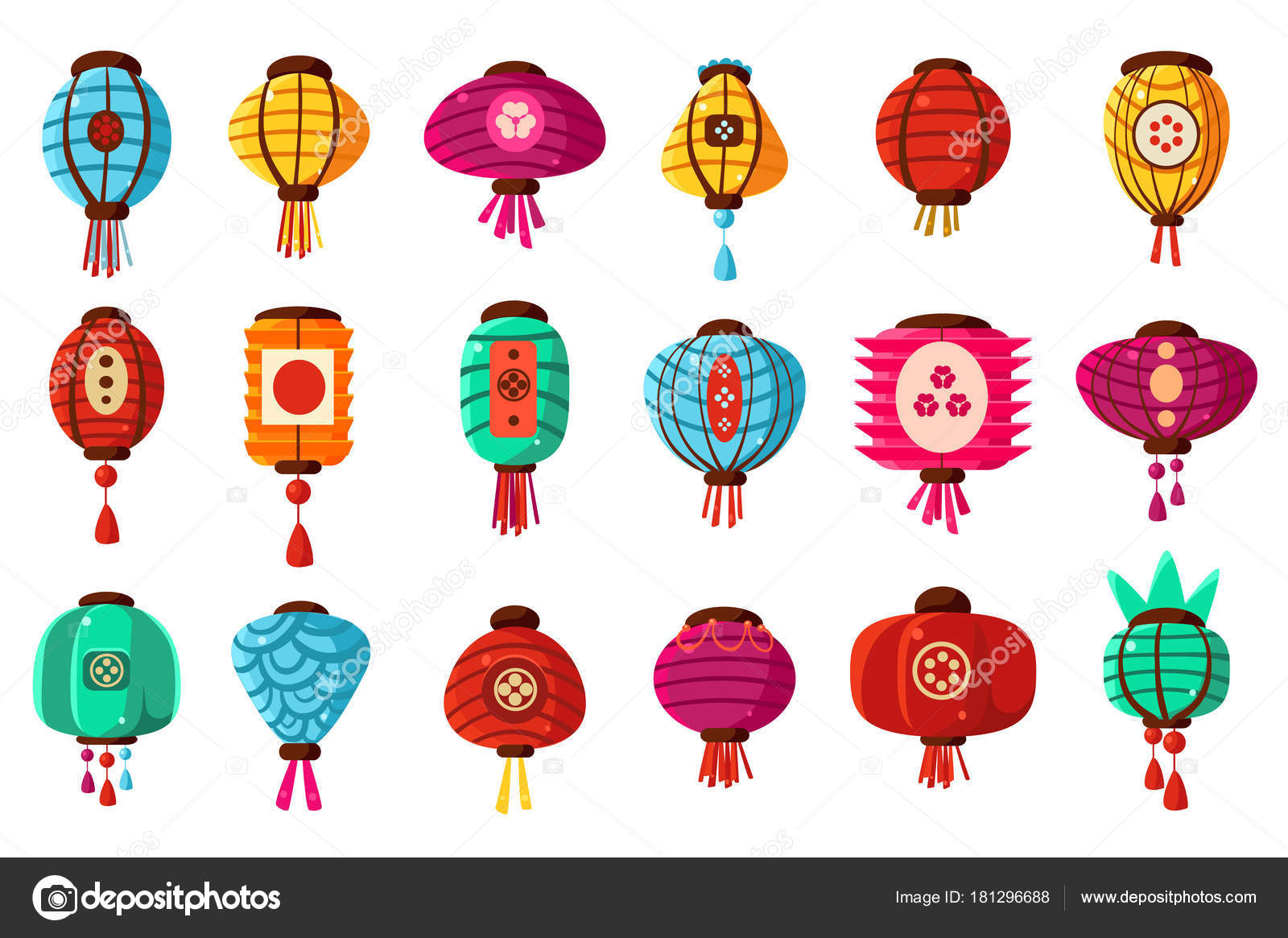 Colorful flat cartoon style street paper Chinese lanterns ...