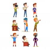 Fotografie Hobby set mladých teenagerů. Kreslené děti znaky. Sběratelství, známky, fotbal, šachy, fotografie, sporty, potápění, hrající trumpeta, poezie. Plochý vektor