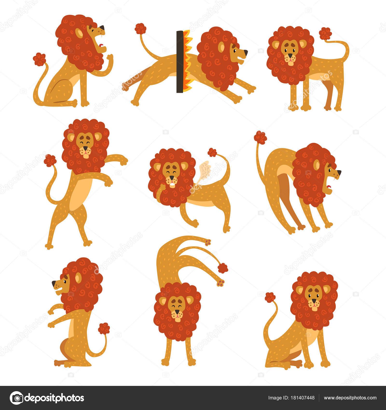 Kolekce Ze Lva V Ruznych Pozach Kreslene Postavicky Z Divokych