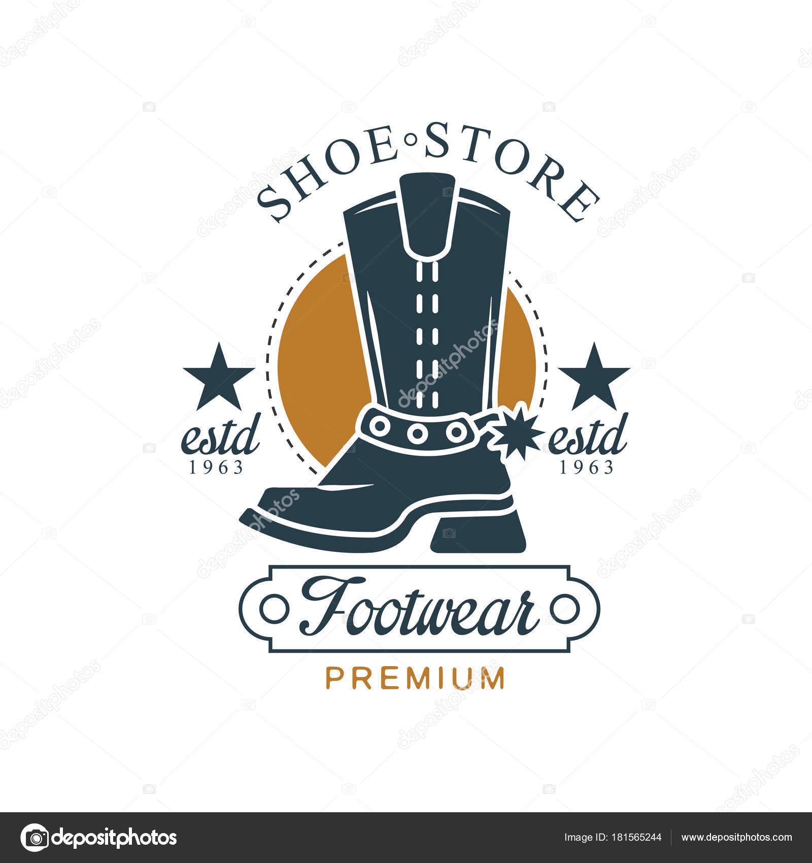 35f2b0fb Tienda de zapatos, calzado premium, estd 1963, vintage tarjeta de identidad  de la empresa, marca, Zapatero o zapatos reparación vector ilustración  sobre un ...