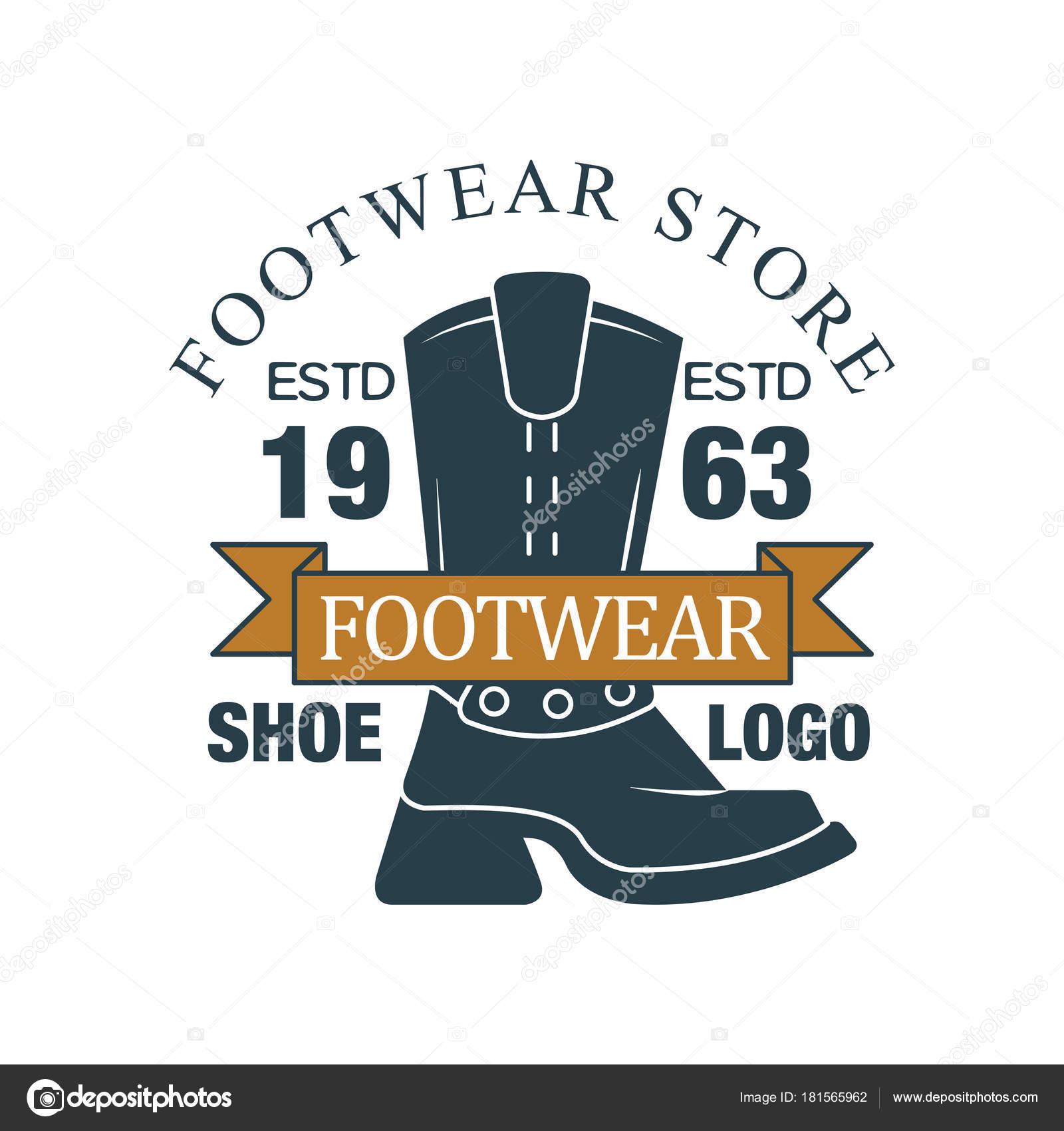fdad62e5 Tienda de calzado, zapato logo, estd 1963, insignia vintage para empresa  identidad, marca, Zapatero o zapatos reparación vector ilustración sobre un  fondo ...