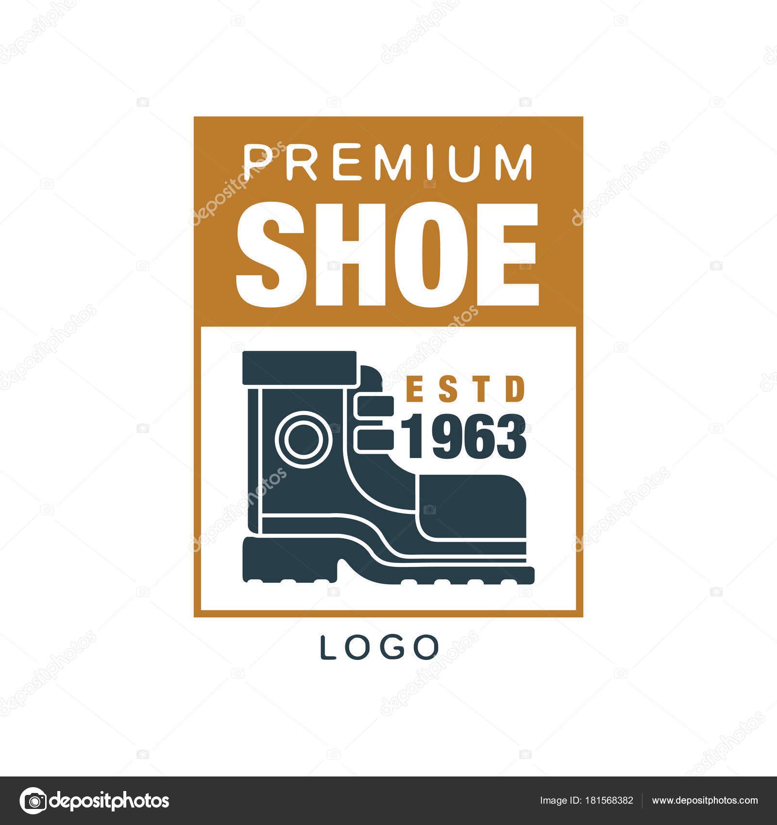 fdf600ff1 Премиум обуви логотип, estd 1963 знак для ремонта обуви бренда, сапожник  или обувь векторная иллюстрация на белом фоне — Вектор от ...