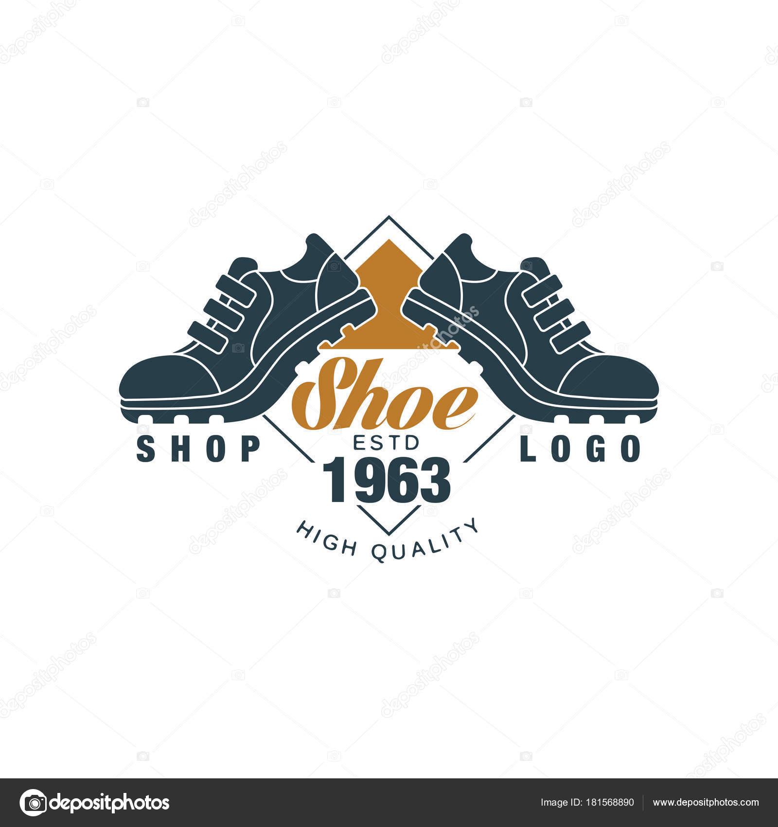 5f0cce6e8d0 Schoen winkel logo, estd 1963 vintage badge voor schoeisel merk,  schoenmaker of schoenen reparatie