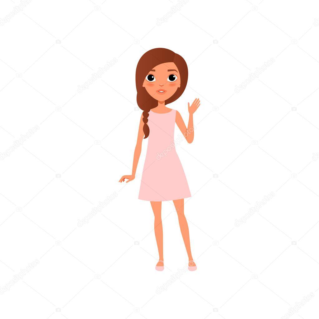 Animado: niñas saludando animados | Hermosa joven con el