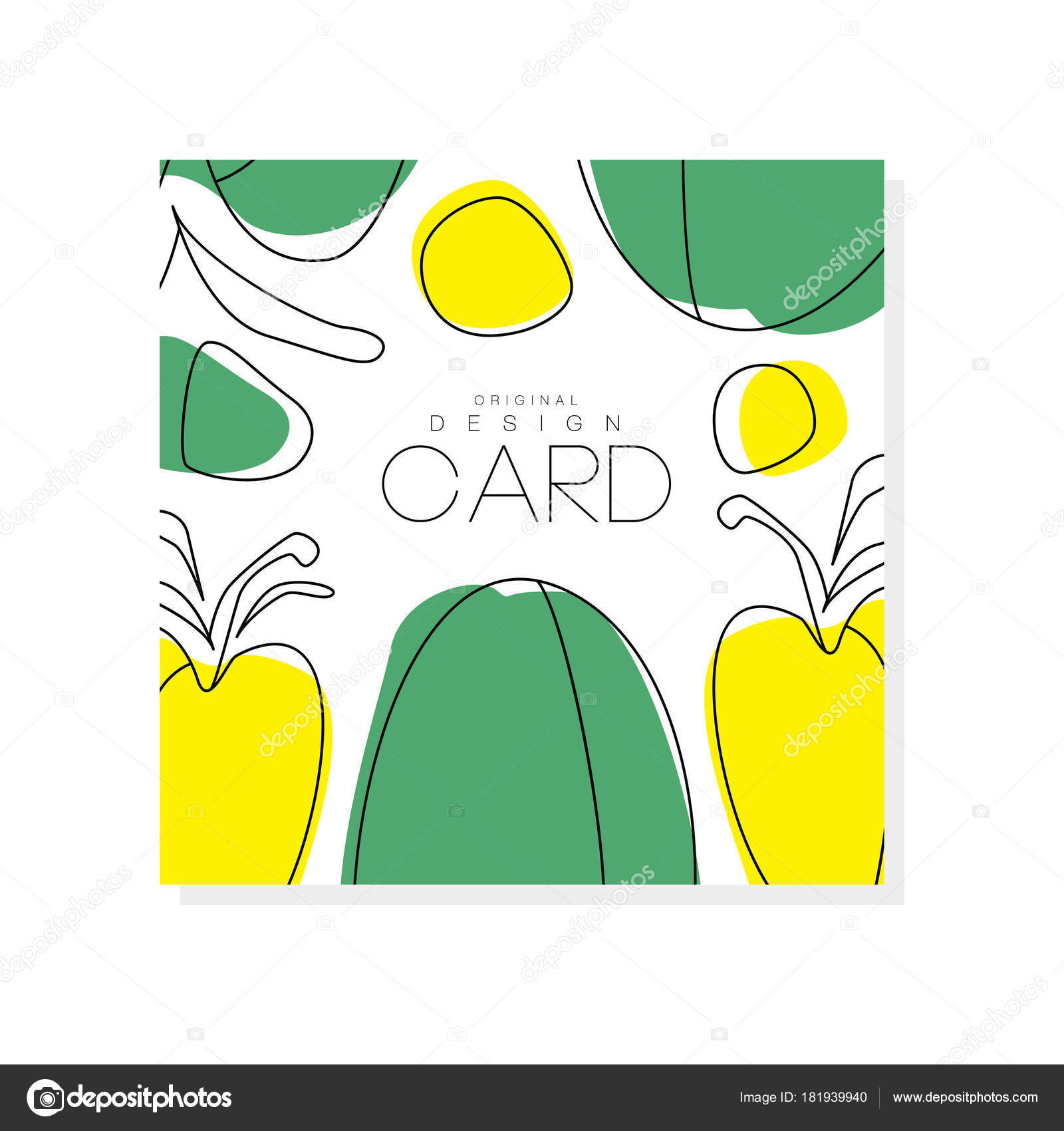Abstract card with green and yellow vegetables. Healthy ...