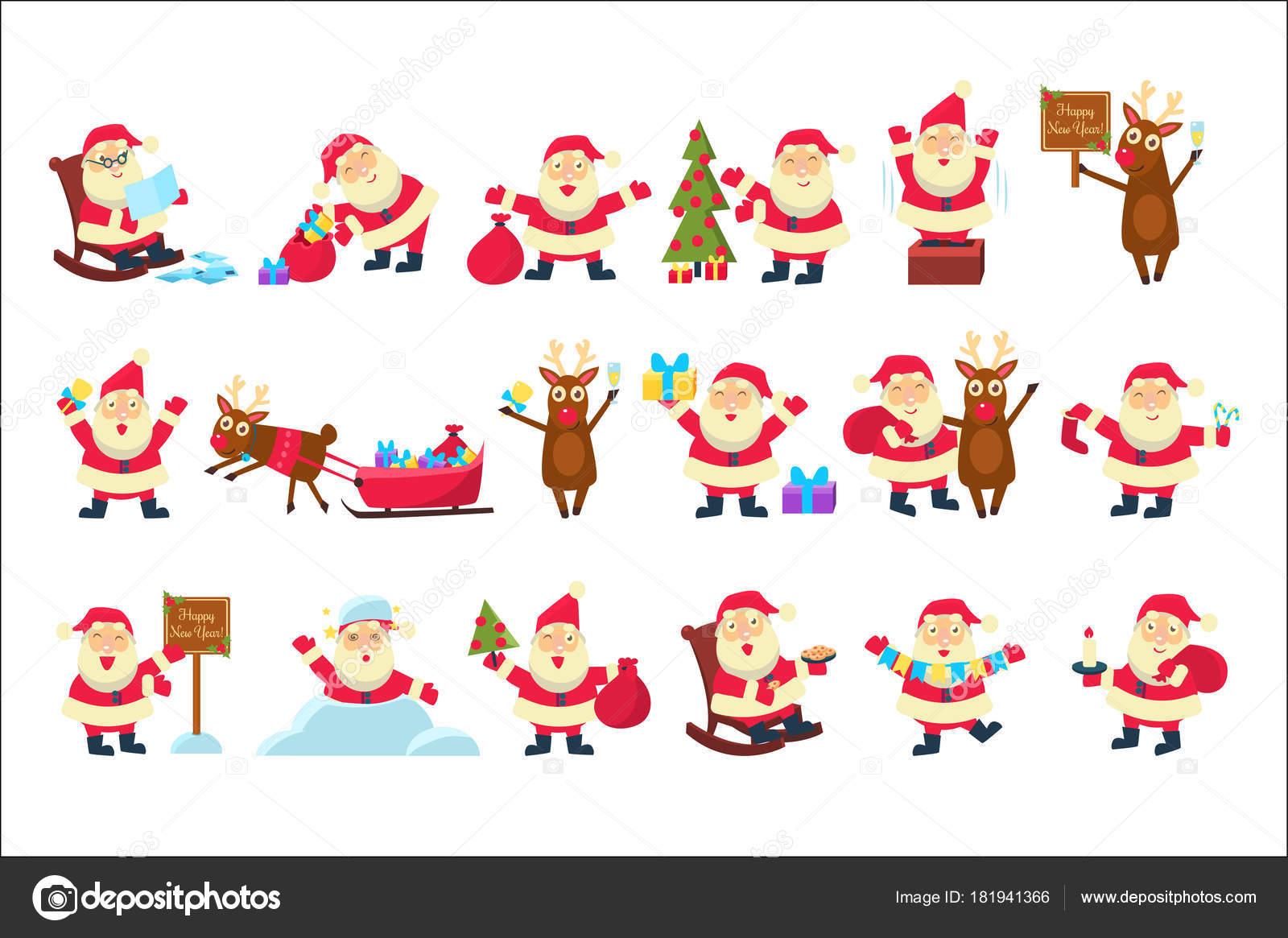 Juego Con Divertido Santa Claus En Diferentes Poses Feliz Navidad Y