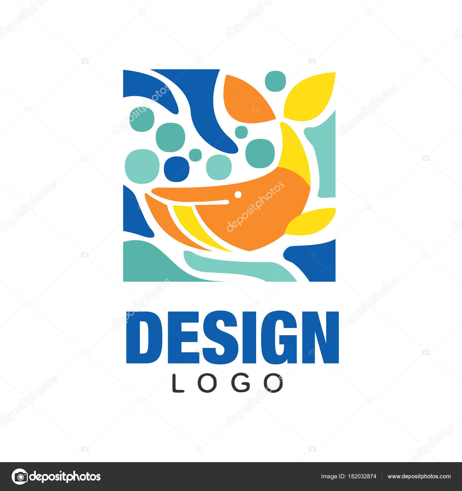 Silhouette Abstraite De Baleine Orange Dans Leau Icone Marine Le Style Plat Design Original Pour T Shirt Print Carte Postale Ou Visite