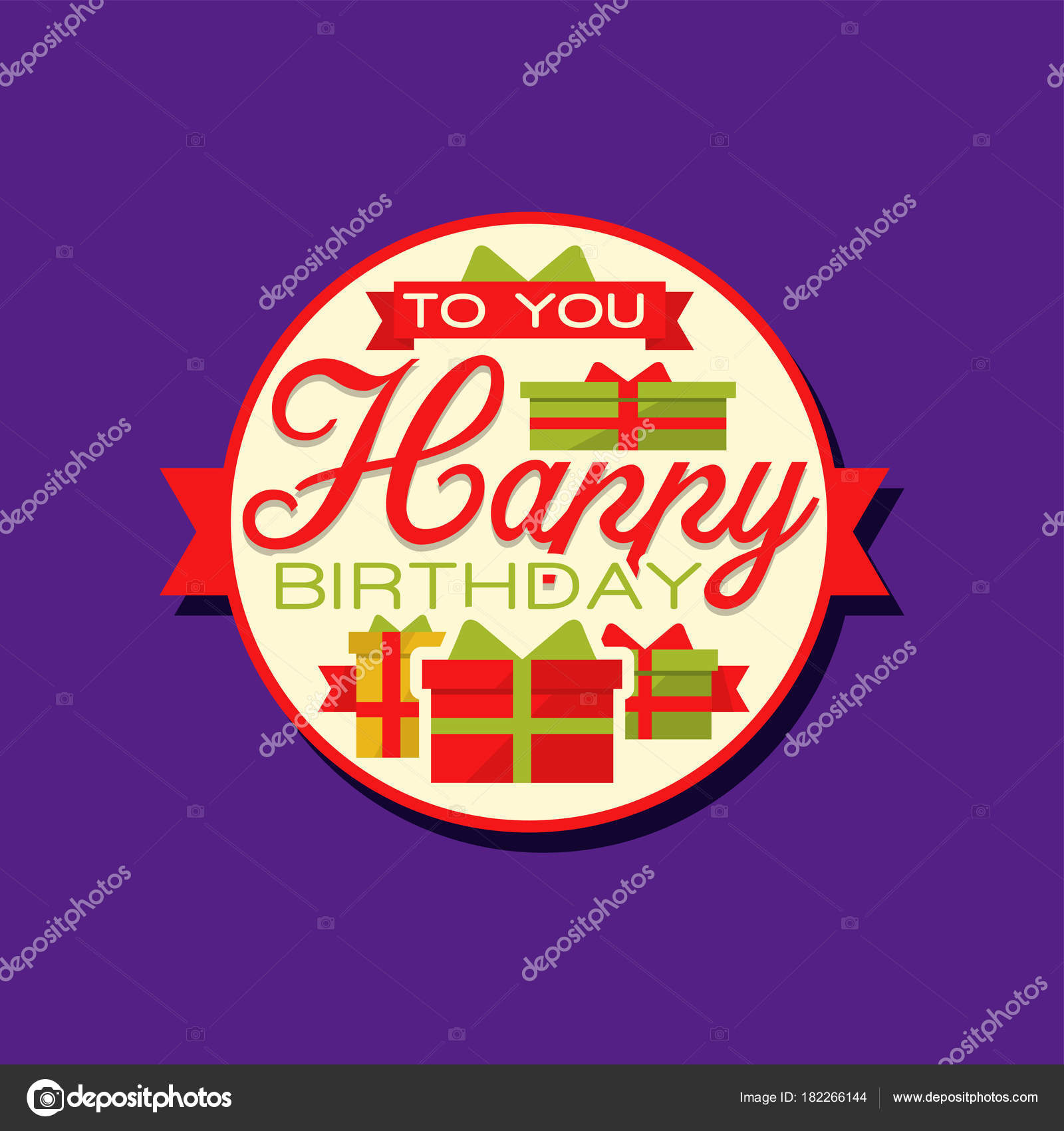 Creative design of happy birthday sticker or label with gifts and text greeting card or decor element for holiday celebration tag for present