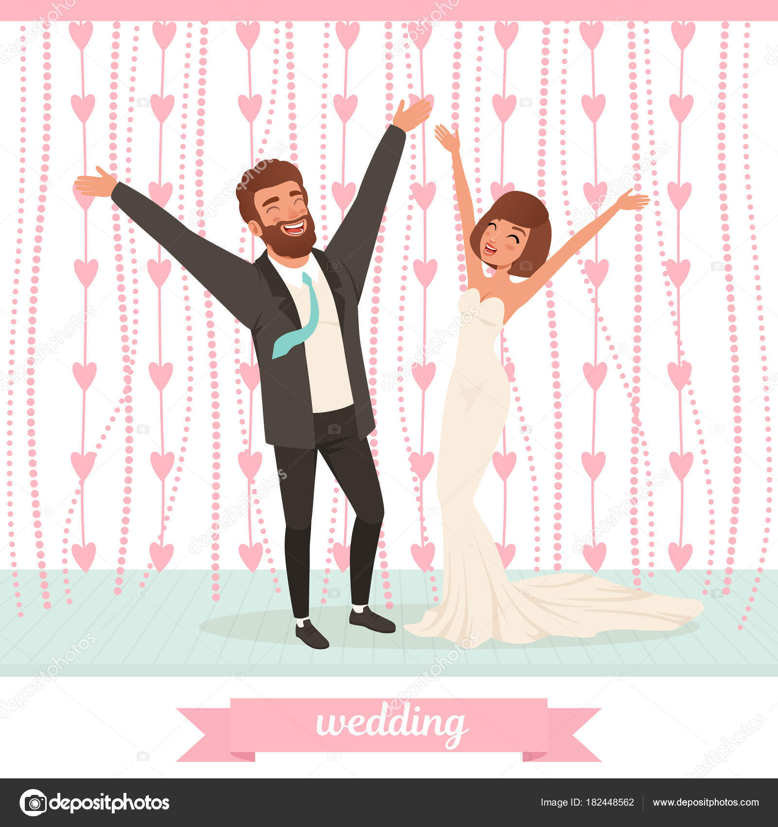 Happy Married Couple Having Fun On Dance Floor With Hand Up Wedding
