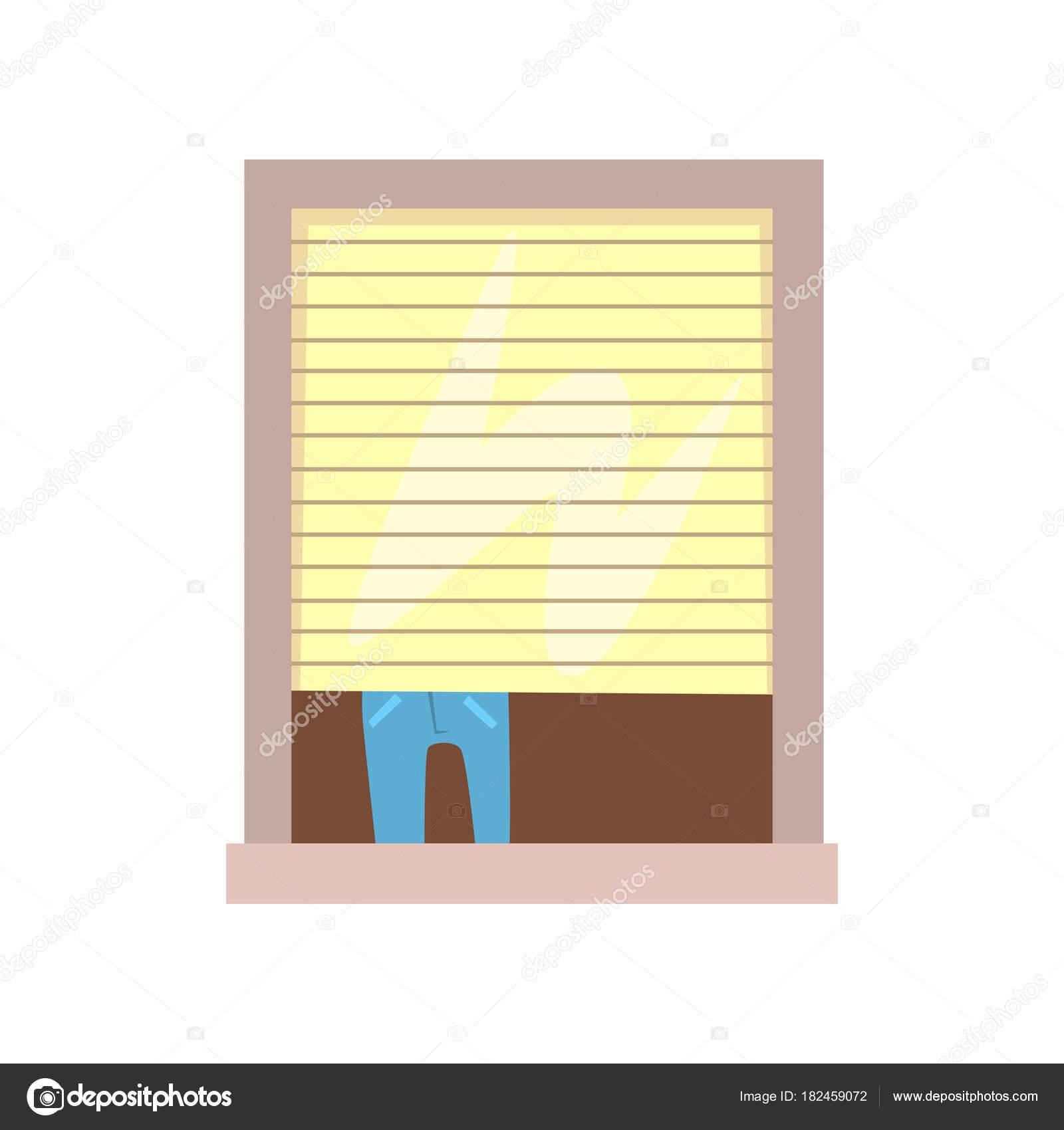 Mann schließen Jalousie. Gebäude-Fenster. Blick auf Haus von der ...