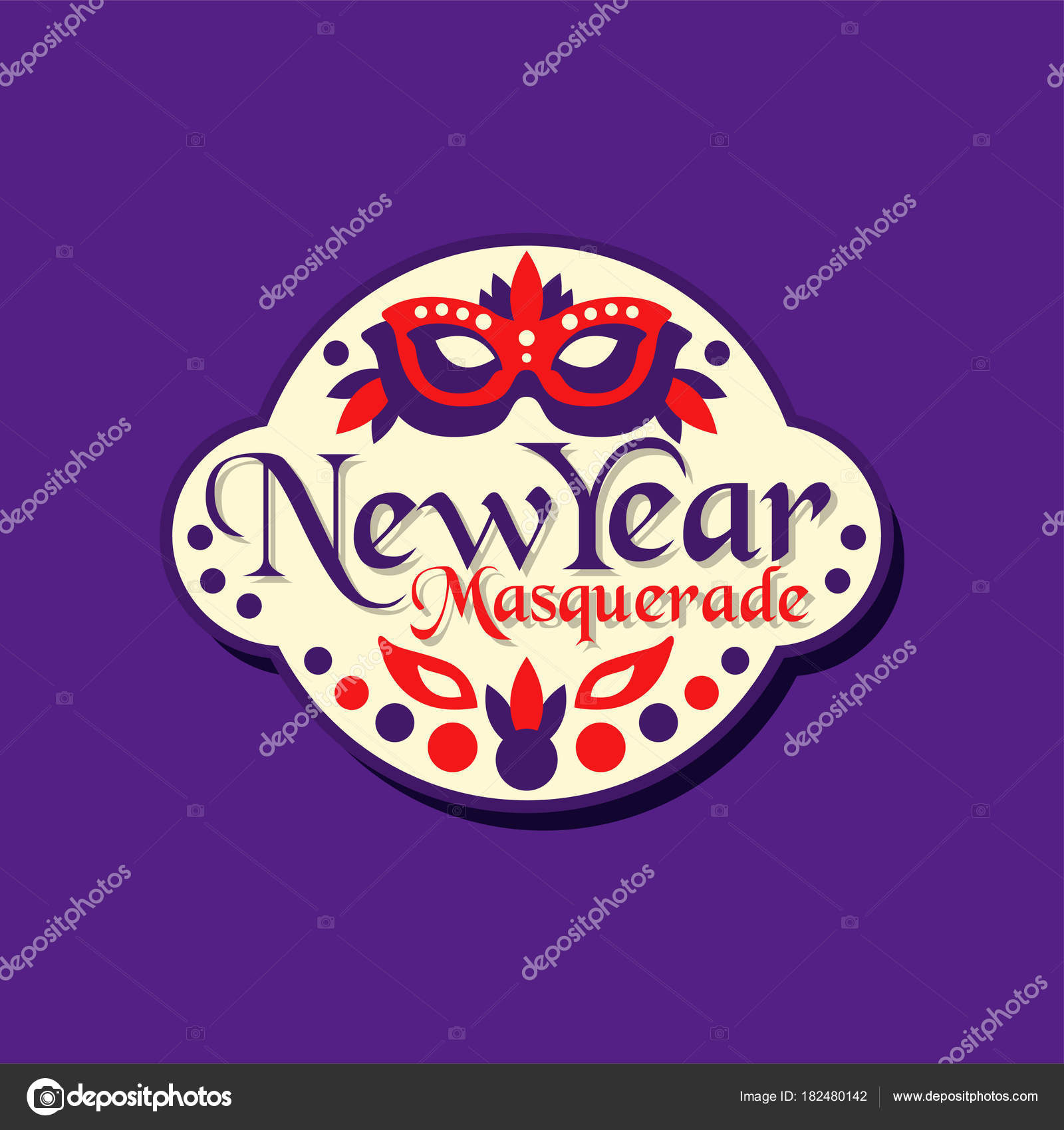 new year masquerade promo sticker invitation for holiday celebration decorated with mask and feathers