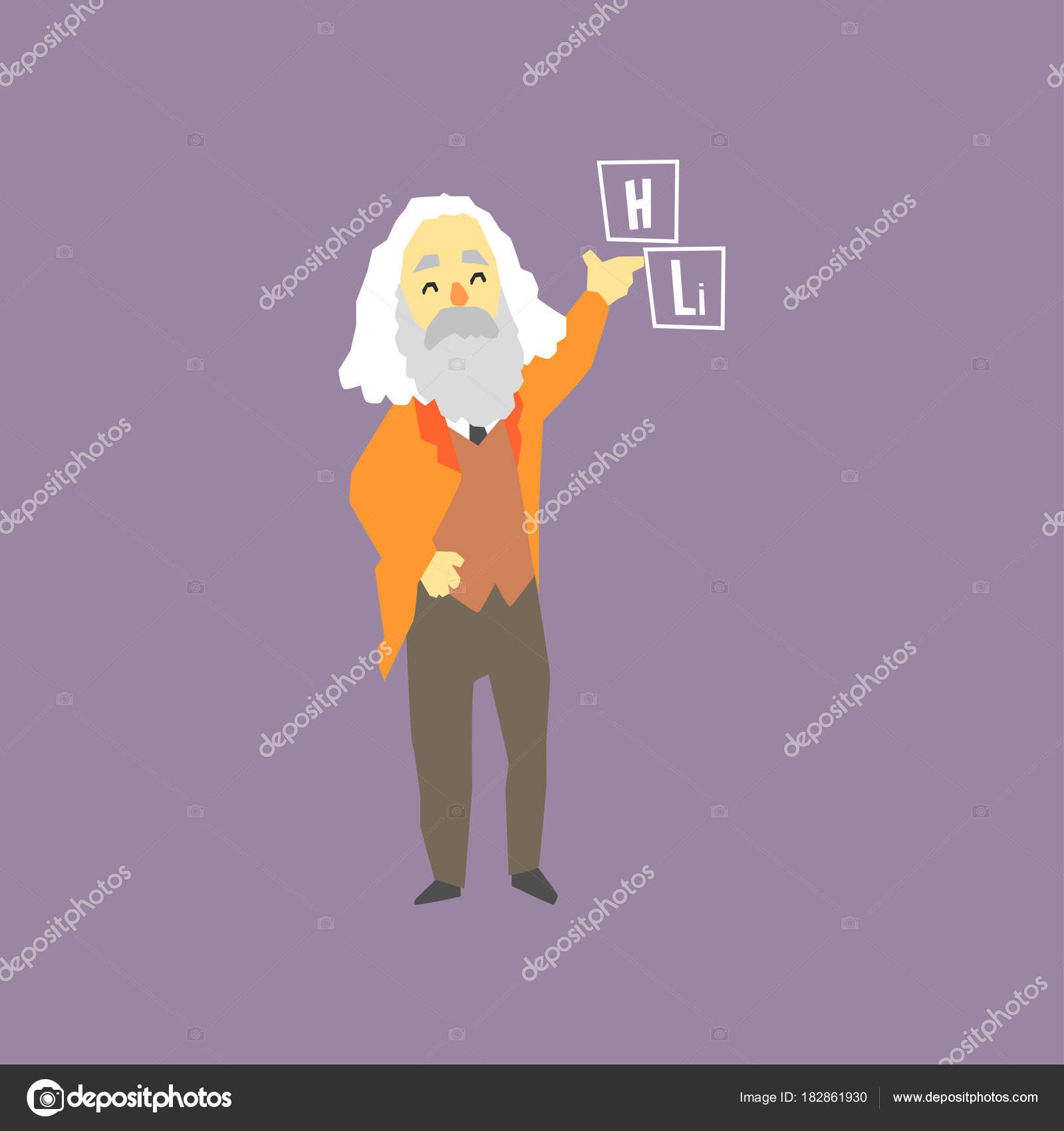 Famous russian chemist dmitri mendeleev inventor of the periodic inventor of the periodic table of elements smiling gray haired man character with beard cartoon flat vector illustration isolated on purple background urtaz Image collections