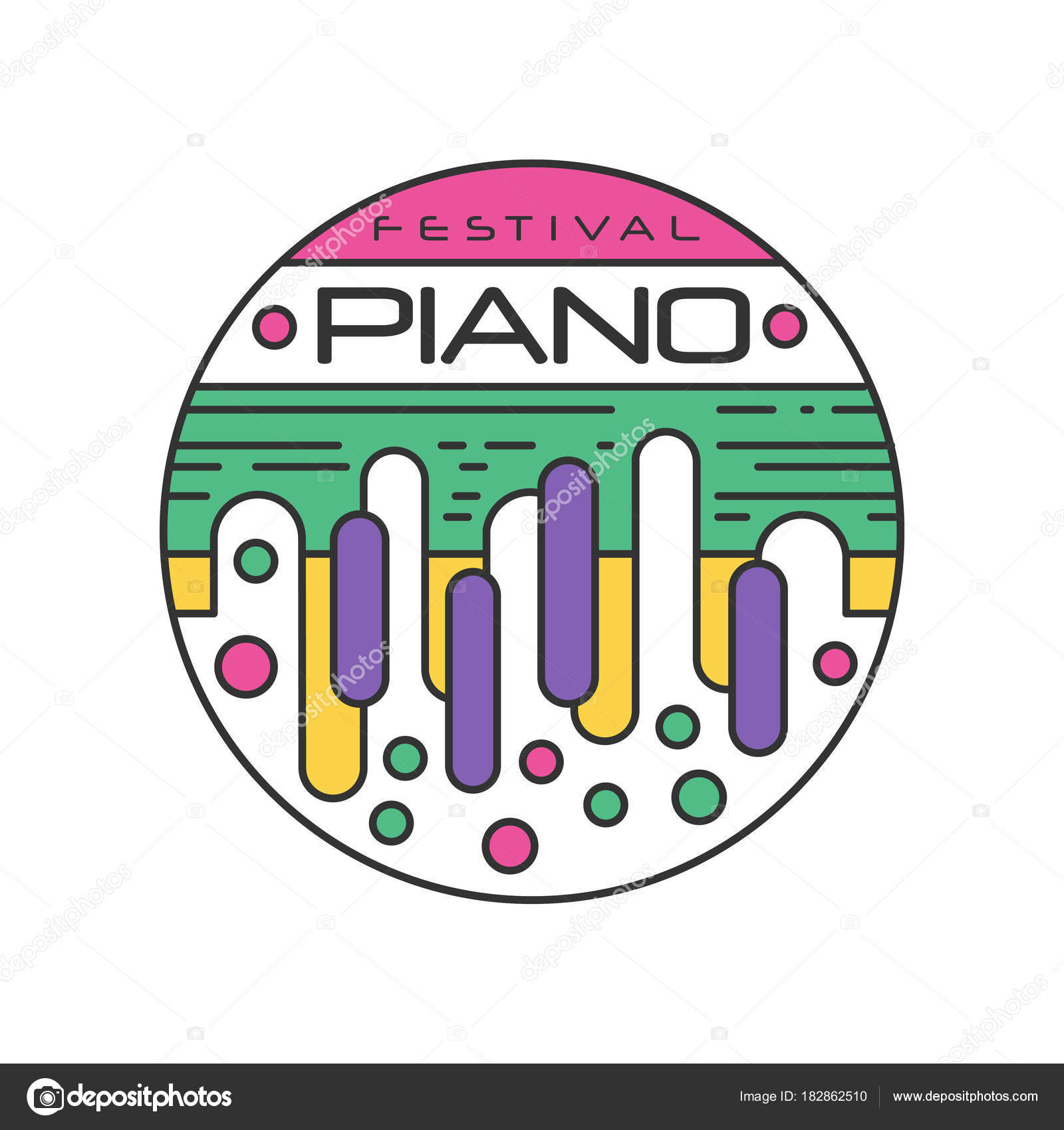 Plantilla de logotipo abstracto para festival de música. Etiqueta ...