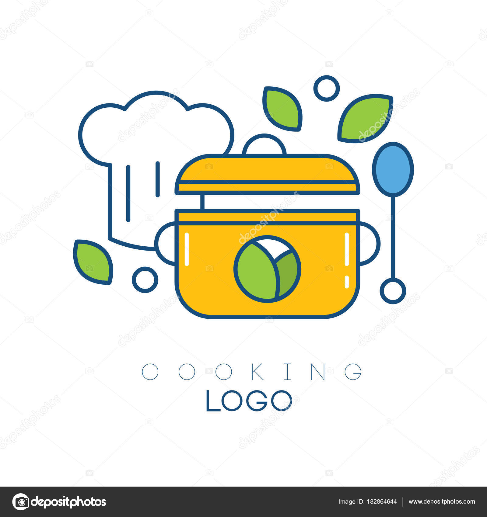 de logo vector original con sombrero de chef s, cuchara, cazo y ...