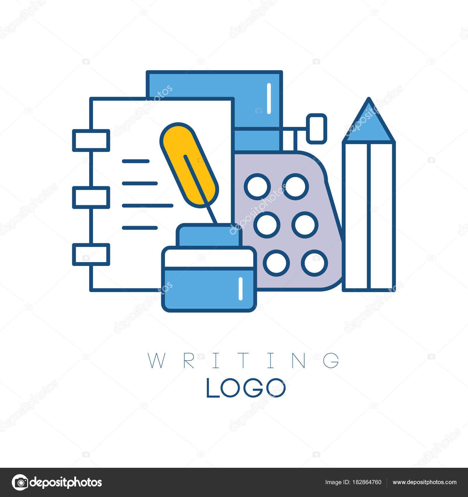 Plantilla de logotipo de hobby con cuaderno, pluma en el tintero ...