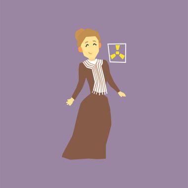 Famous woman scientist - Marie Curie. Discoverer of two radioactive elements radium and polonium. Cartoon character in long old-fashioned dress. Flat vector design