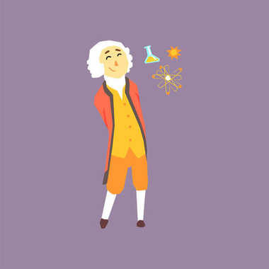 Cartoon character of Isaac Newton - famous physicist and mathematician in the history. Scientist in colonial wig, coat, pants and shirt. Flat vector illustration
