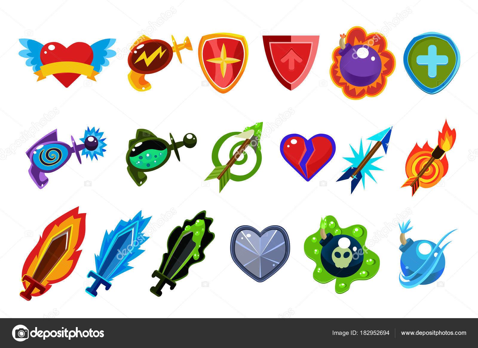Imágenes Corazones Con Flechas Y Espadas Elementos De La Interfaz