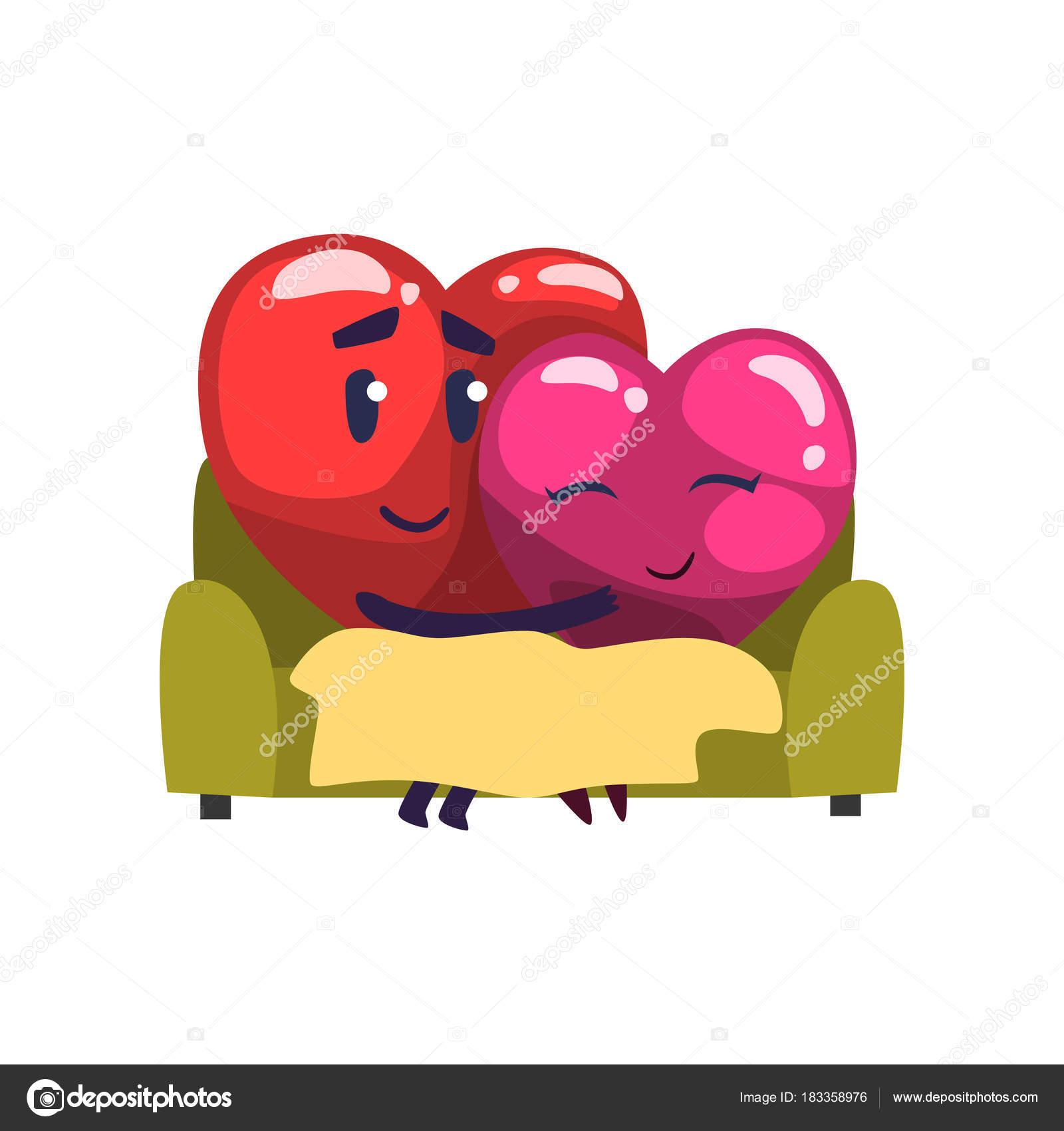 Susse Rote Und Rosa Herzen Zeichen Beim Sitzen Auf Dem Sofa Lustige