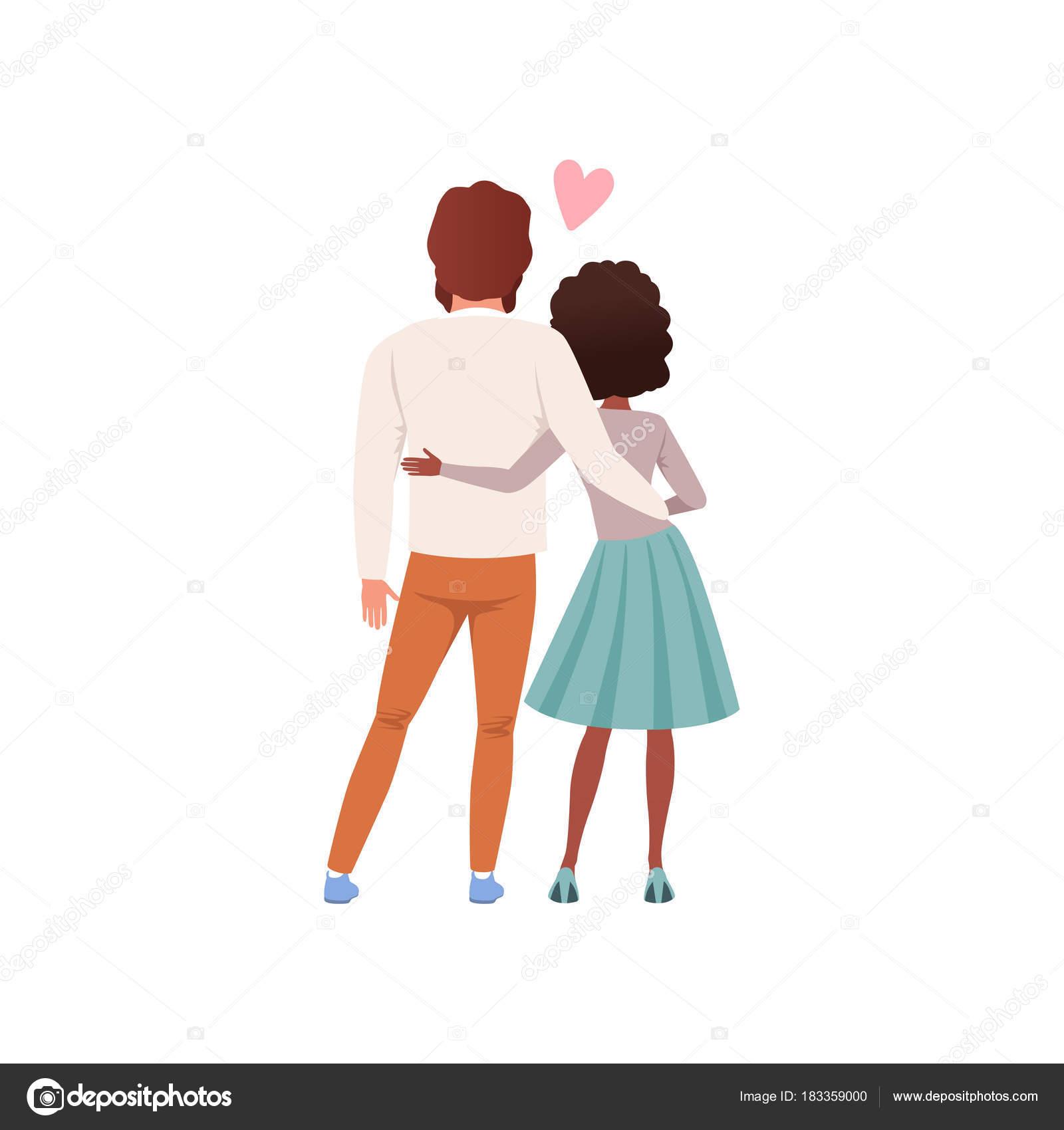Jeune Homme Et La Femme Personnages Debout Embrassant Vue