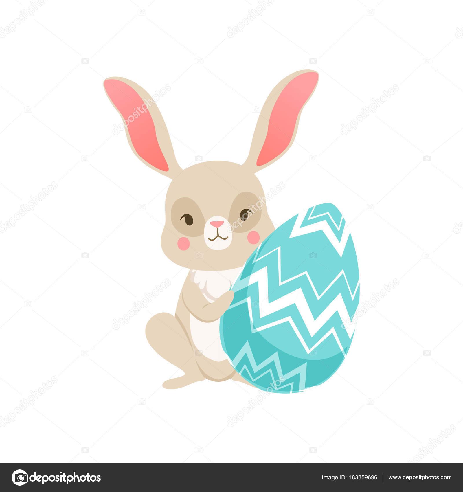 Niedlichen Cartoon Hase Sitzend Hält Blaues Ei Lustige Hase