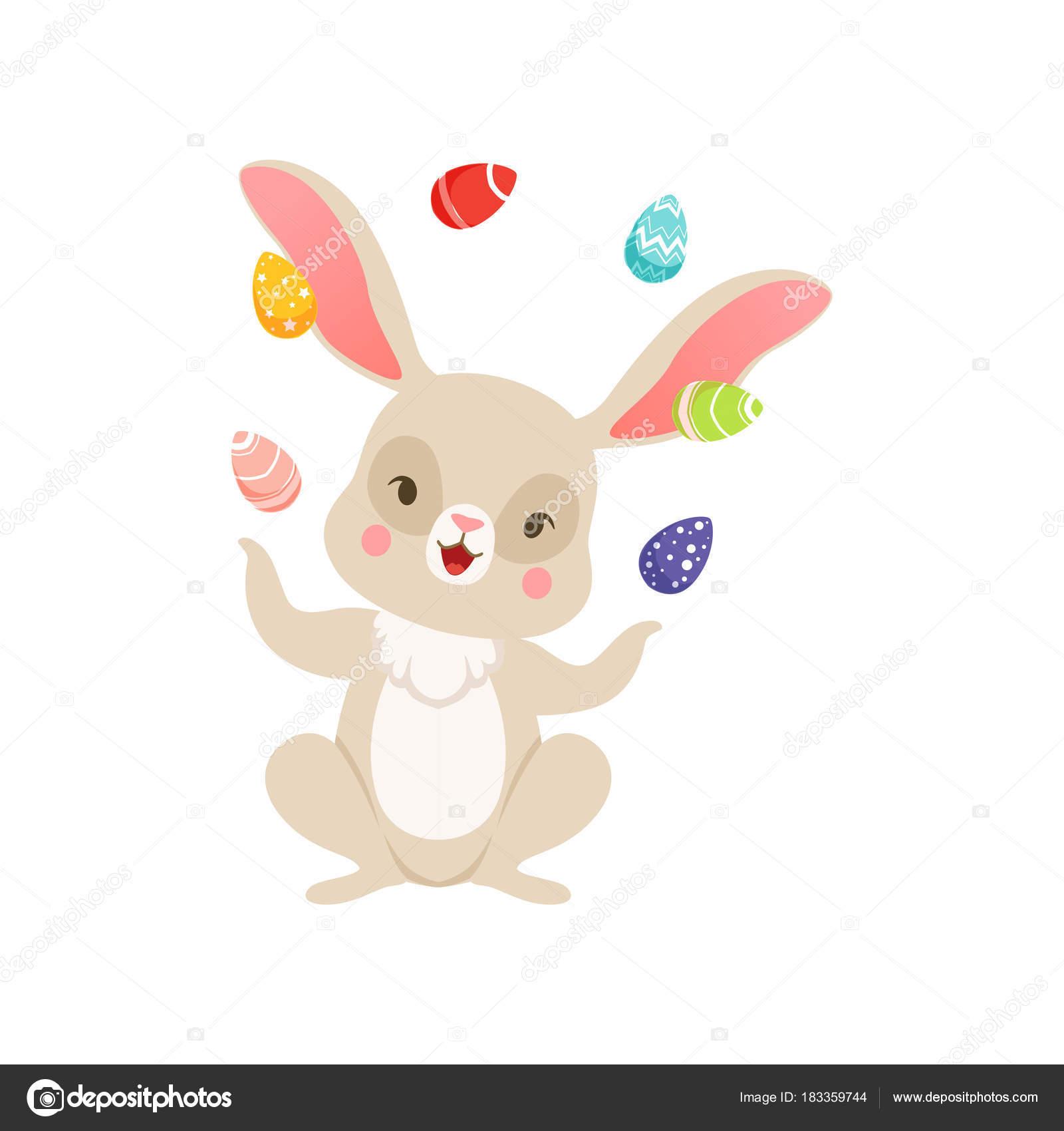 Niedlichen Cartoon Bunny Jonglieren Mit Bunten Eiern Lustige Hase