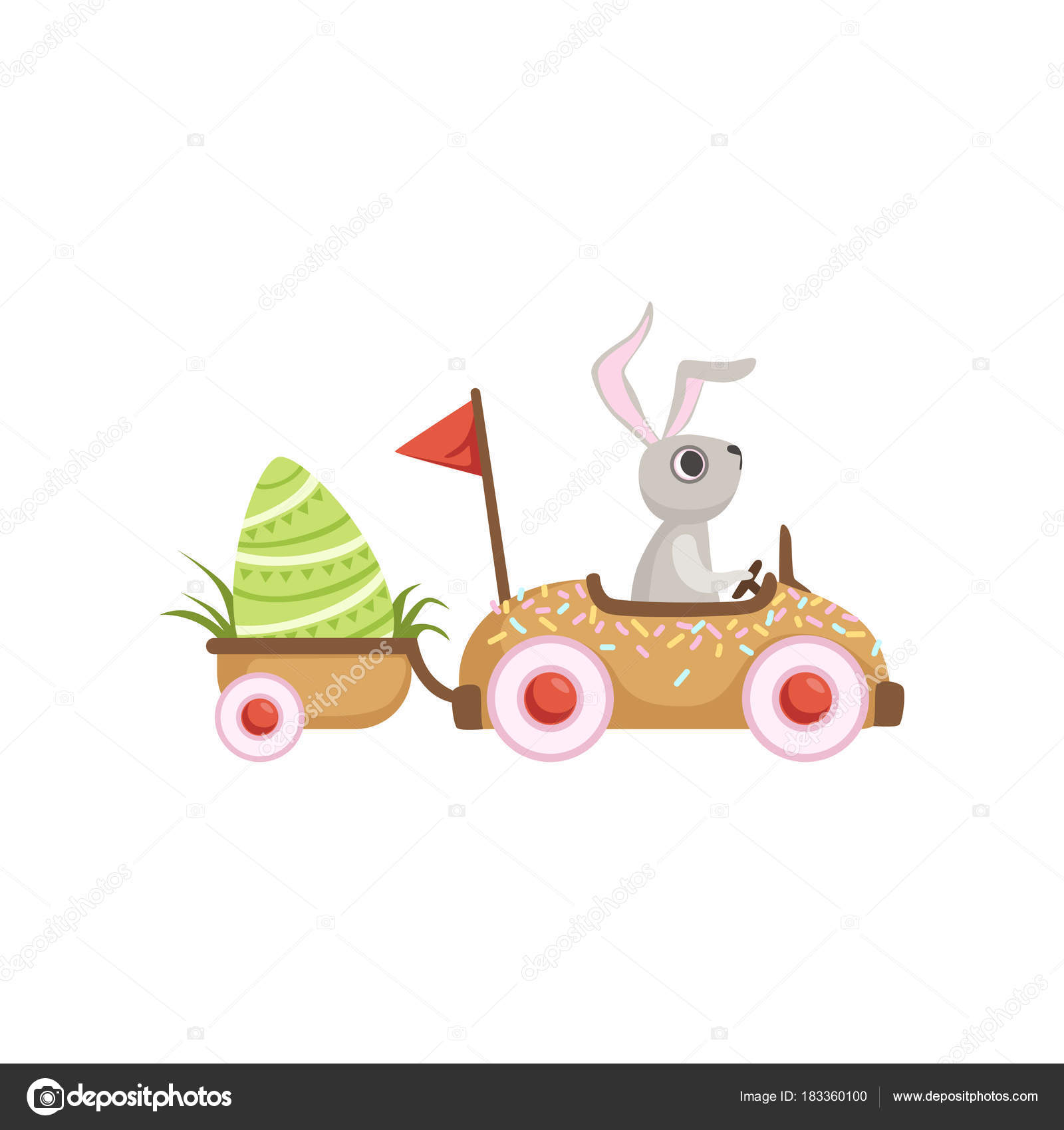 Easter Bunny Reese S Egg Cars: Cute Little Bunny Driving Car With Green Egg, Funny Rabbit