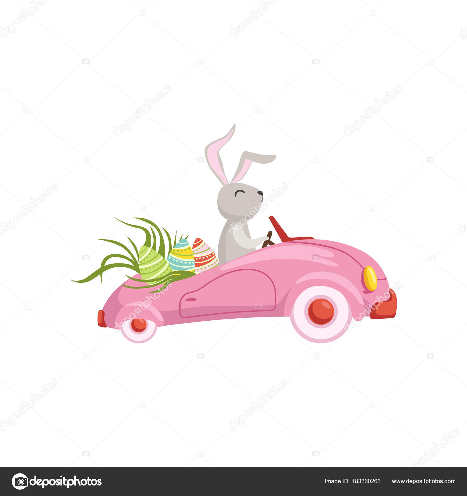 Easter Bunny Reese S Egg Cars: Cute Bunny Driving Pink Vintage Car Decorated With Easter