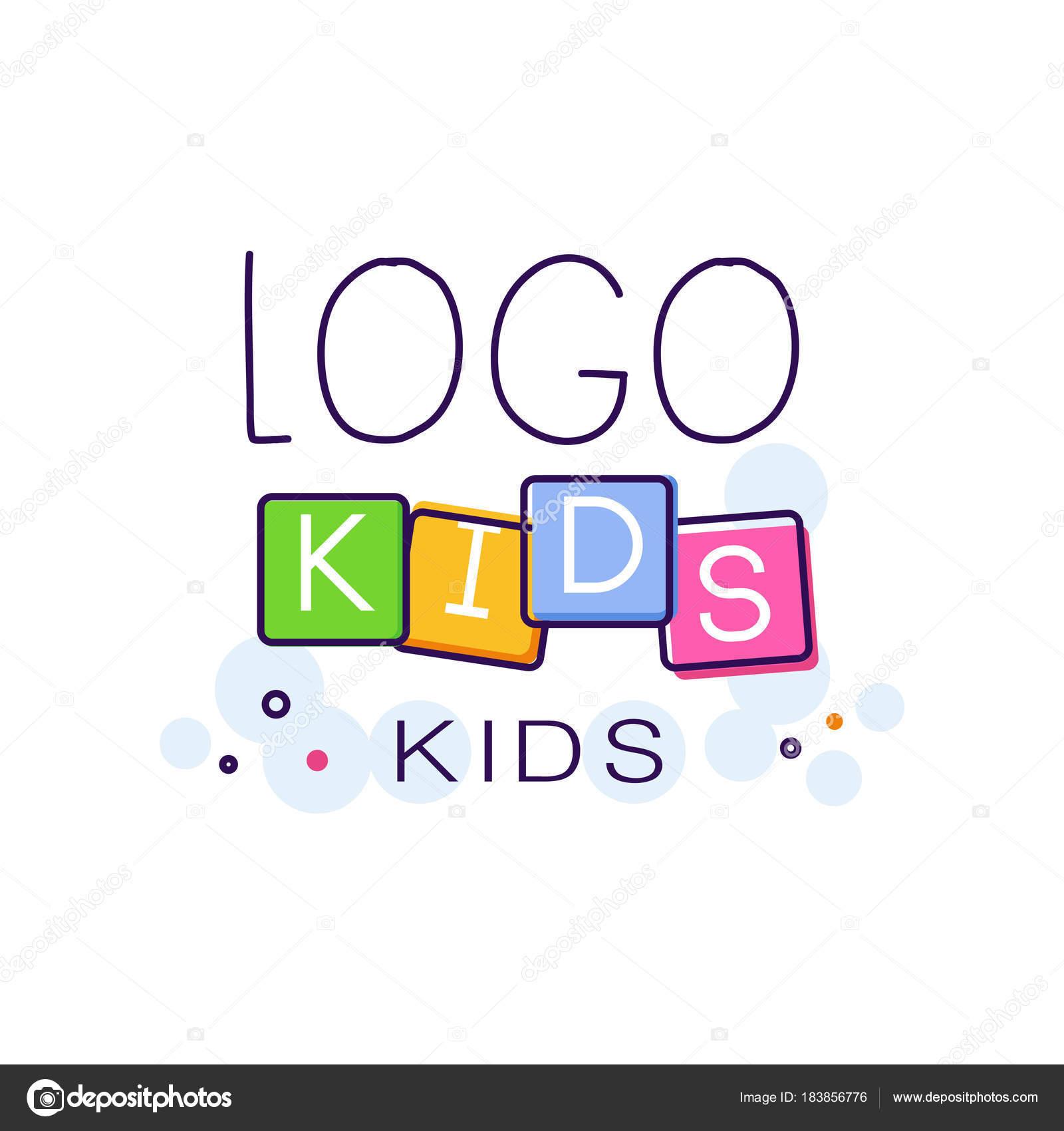 Logo los niños concepto creativo plantilla vector de dibujado a mano ...