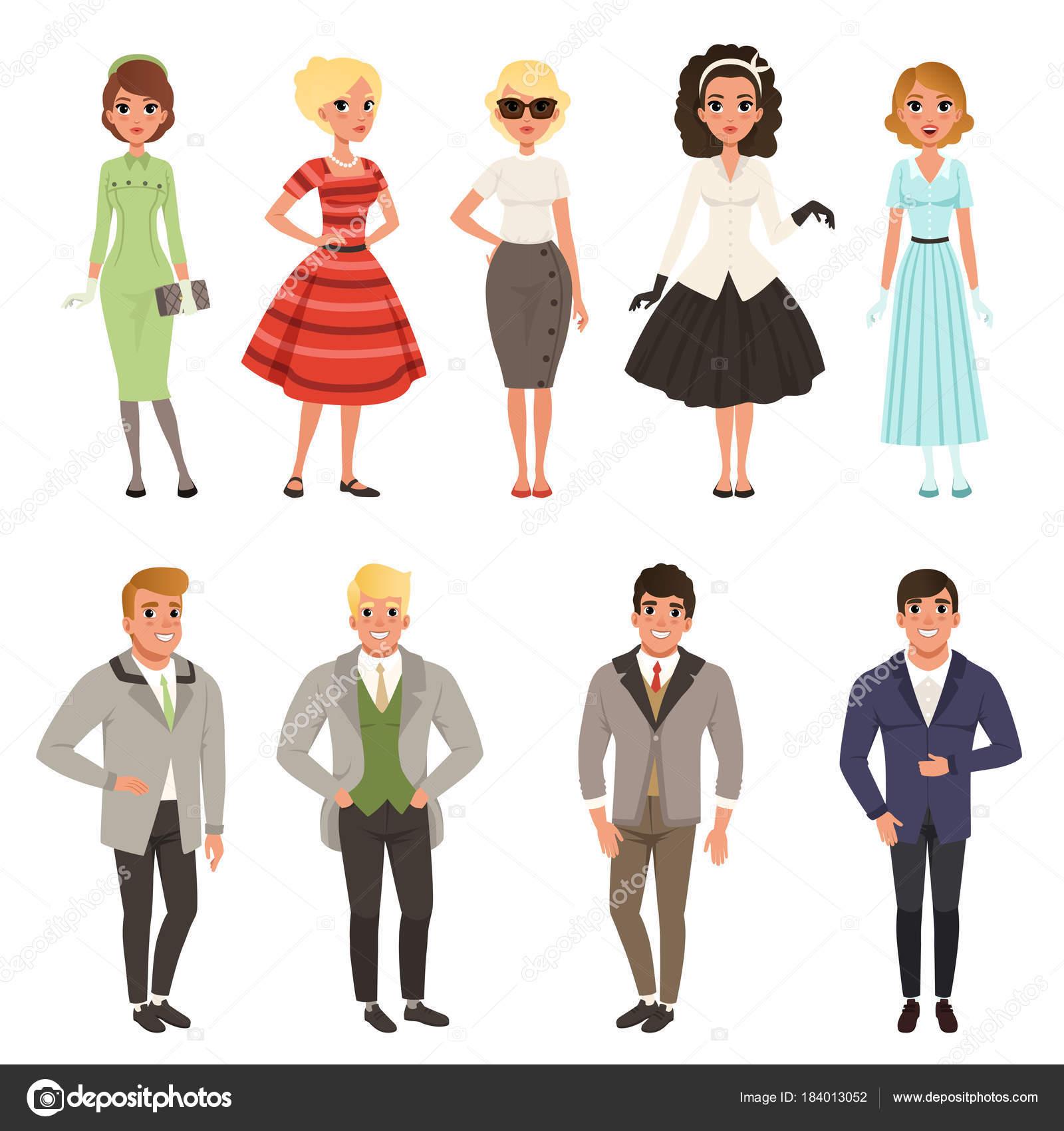 37d0faa66 Mladí muži a ženy nosí set vintage oblečení, retro móda lidí od 50s a 60s  vektorové ilustrace na bílém pozadí — Vektor od ...