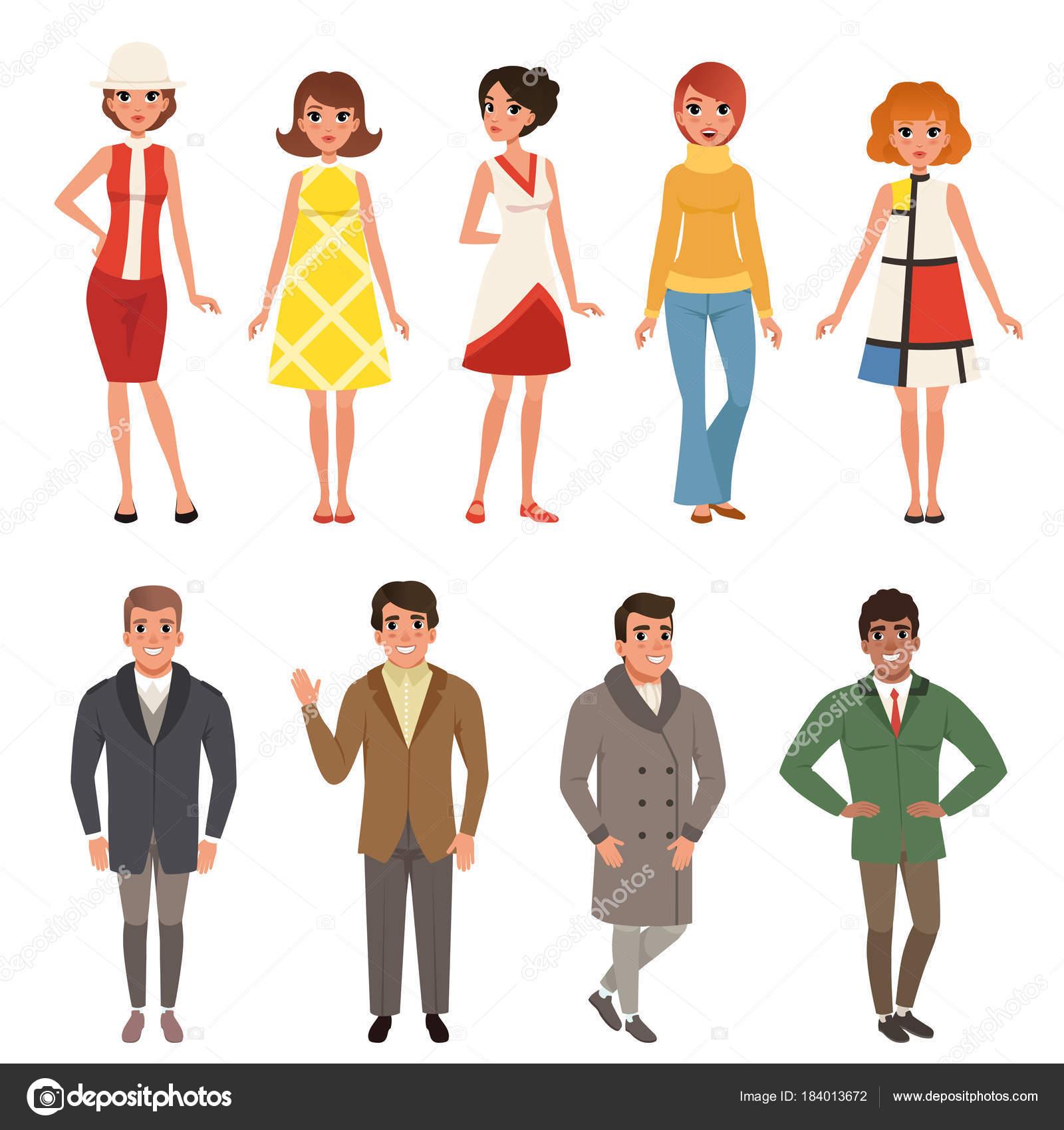 Junge Manner Und Frauen Set Retro Kleidung Tragt Vintage Mode