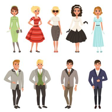 Young men and women wearing vintage clothing set, retro fashion people from 50s and 60s vector Illustrations