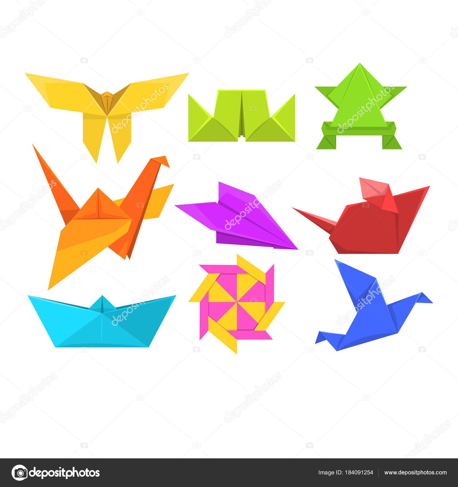 動物折り紙セット幾何学的な紙の動物や鳥のベクトル イラスト