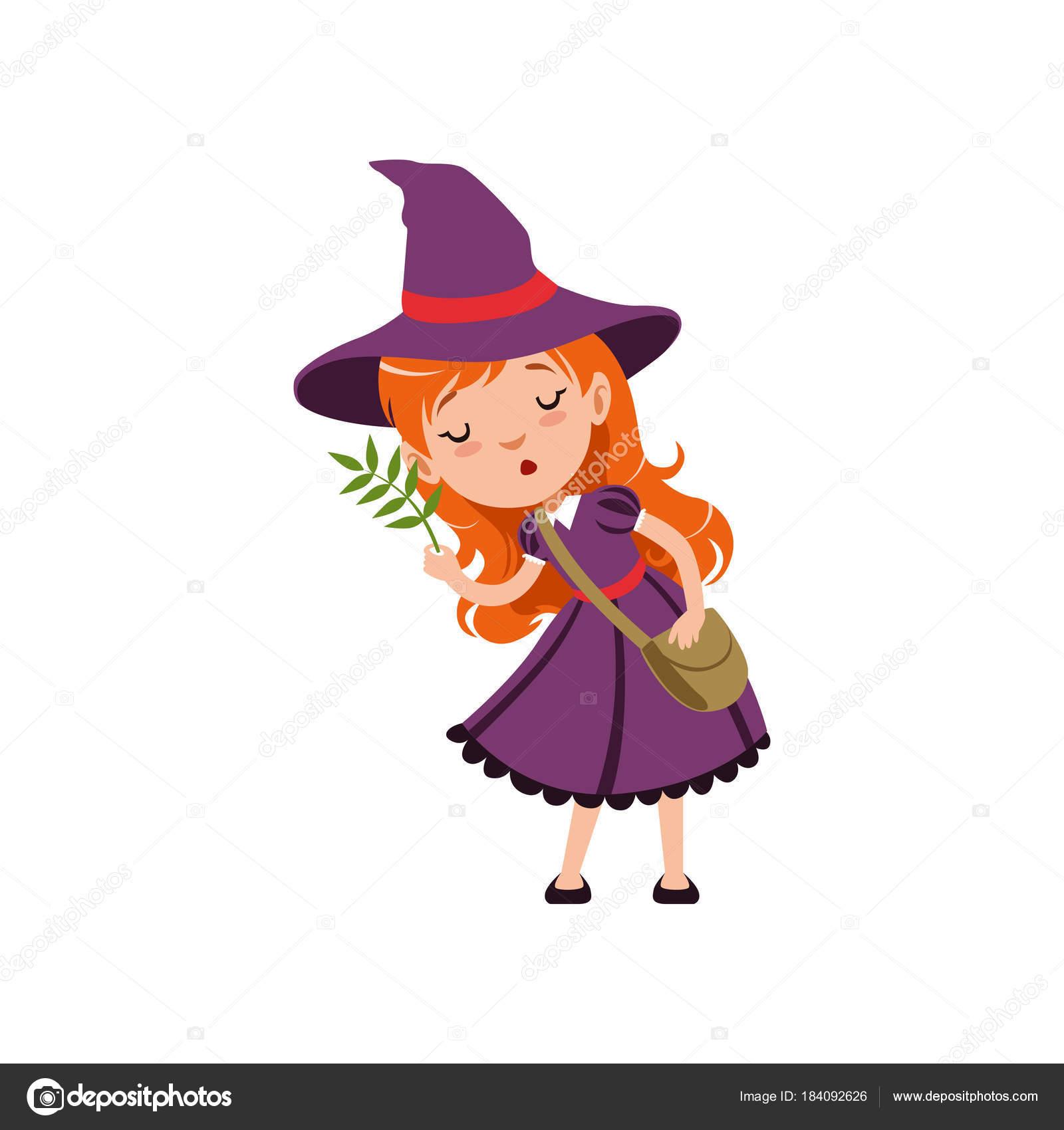 紫のかわいい小さな赤い髪の少女魔女ドレス、帽子、バッグ本体